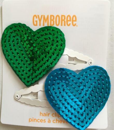 NWT Gymboree FANCY DALMATIAN Dalmation Turquoise Green HEART HAIR 2 Snap Clips