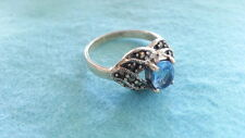 Beautiful Blue Marcasite Solid Band Ring 925 Sterling Silver *Size 7 *C500