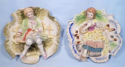 Colonial Man & Woman Bisque Wall Plaques Vintage Japan 1950s Hanging Nice Cond