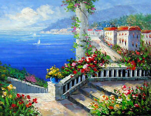 Oil Painting Mediterranean Landscape With House Flowers By Beach