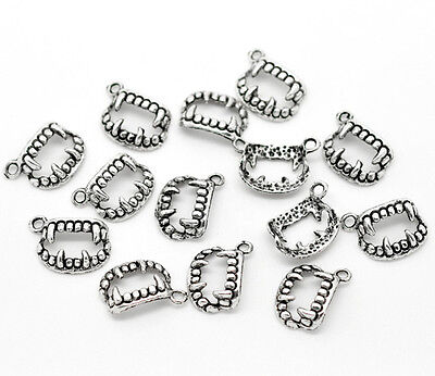 15 x 17mm Tibetan Silver Teeth / Fang Pendant Gothic Ghoul Halloween Charms Q44