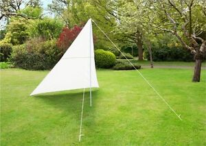 Portable Ivory Sun Shade Sail Kit With Poles Ropes 3m Triangle
