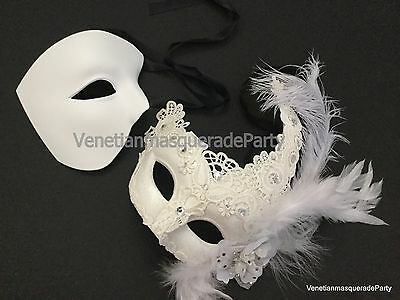Masquerade Party phantom man ball For and White woman White Mask midnight Pair rRrawx7