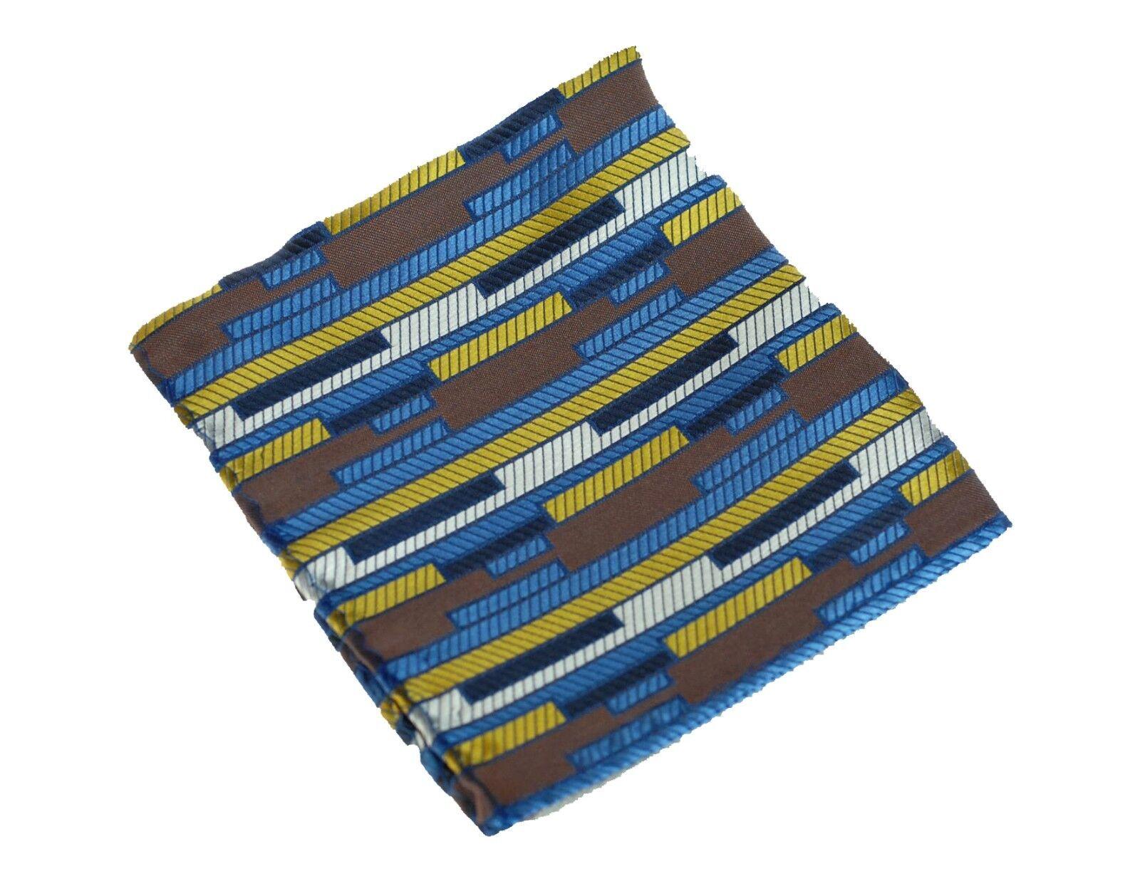 Lord R Colton Masterworks Pocket Square Miami Brown Blue Silk - Retail New