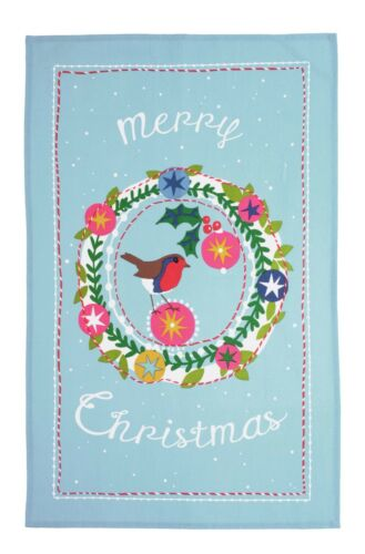 """Ulster Weavers /""""Frosty Garland Coton Imprimé Thé Serviette. Joyeux Noël/"""""""