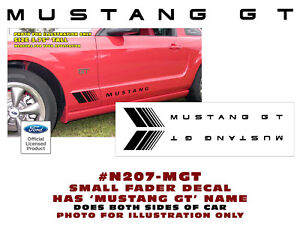 TWO DECALS N207-M MUSTANG SMALL FADER w// MUSTANG NAME DECAL SET COLORS