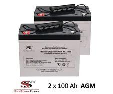 2 pezzi 12v 100ah AGM GEL Batteria Batteria Batteria Solare UPS camper barca c100
