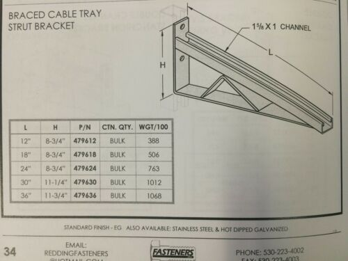 """P2550 Cable Tray 30/"""" Bracket for Unistrut Qty. 2 B-Line Channel #479630"""