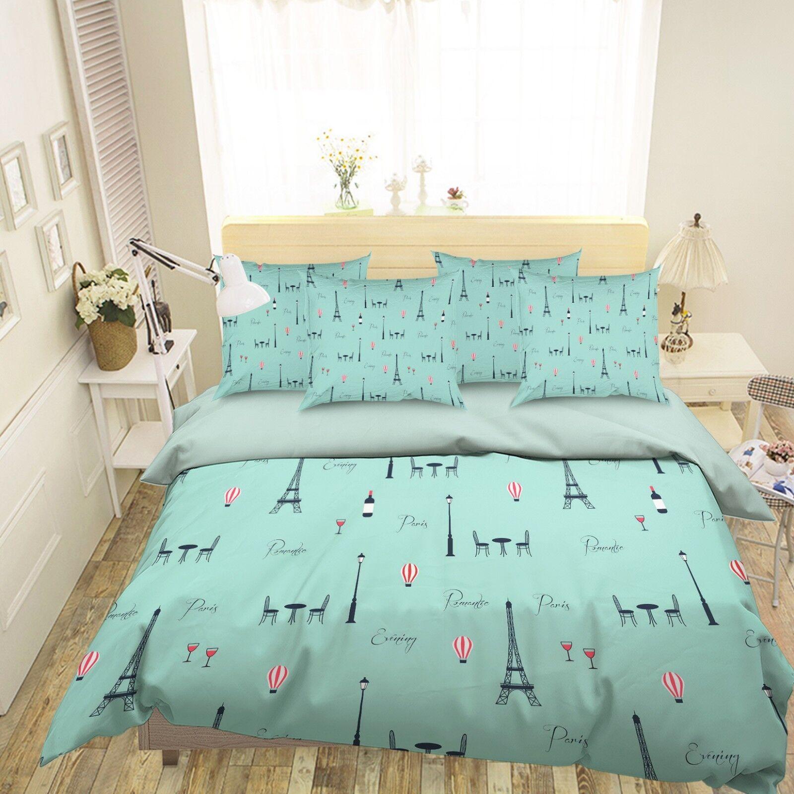 3D Graffiti Tower 116 Bed Pillowcases Quilt Duvet Single Queen King US Summer
