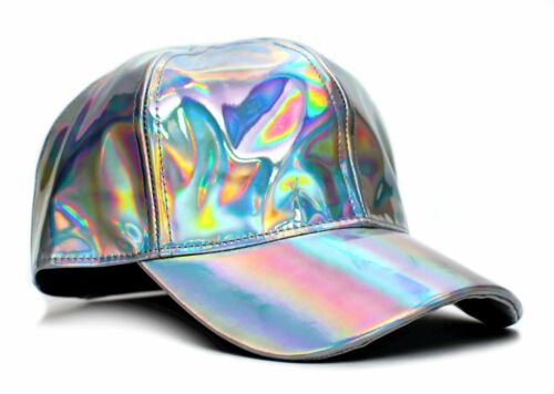 New Marty McFly Hat Back To The Future Curved Bill Silver Iridescent Cap Adult