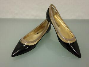 209-NEU-SCHUH-STUDIO-Lackleder-Ballerinas-Gr-41-Shoes-Slipper-Schuhe-Schwarz