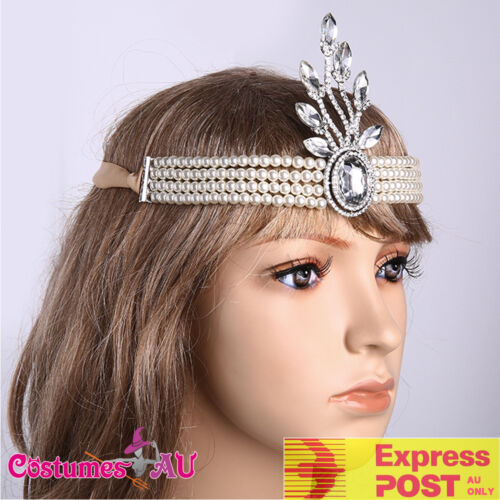 Silver Headband Vintage Bridal Great Gatsby 20s Flapper Headpiece Gangster 1920s