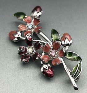 LC-Signed-Enamel-amp-Crystal-Rhinestone-Flower-Bouquet-Spray-Silver-tone-Brooch