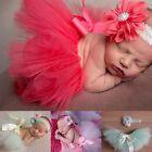 Infant Baby Girls Newborn Flower Headband + Tutu Skirt Costume Set Photo Prop HO