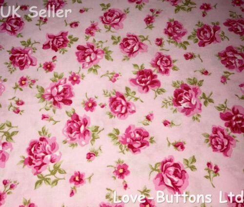 Rose /& Hubble Rosas Rosa Floral Tela 100/% algodón 112cm Ancho Por Metro