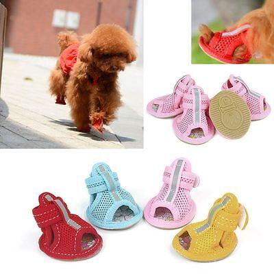 Anti-Slip Small Dog Shoes For Pet Cotton Breathable Mesh Sandals 5size 4PCS/set