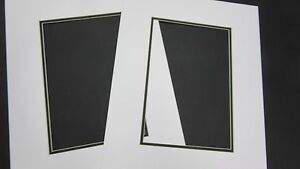 Picture Framing Mat CUSTOM ORDER White with black liner set of two mats