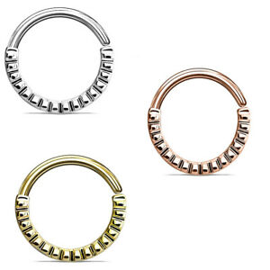 16g GROOVED HALF CIRCLE BENDABLE BRASS SEPTUM NOSE DAITH CARTILAGE RING HOOP