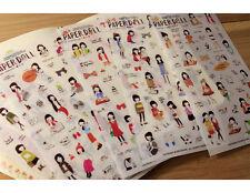 6 sheets paperdoll plain girl notebook diary Planner notebook album  PVC sticker