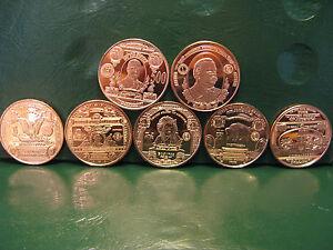 """Banknote Series"" 7 Copper Round Set 1 oz .999 Copper Rounds"