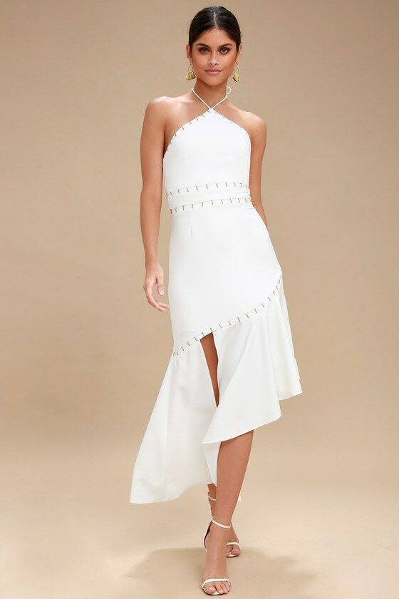 FINDERS KEEPERS WOMEN'S IVORY TAILSMAN HALTER DRESS SIZE S