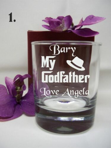 SPIRIT GLASS THE GODFATHER CHRISTENING GIFT PERSONALISED  ENGRAVED WHISKEY