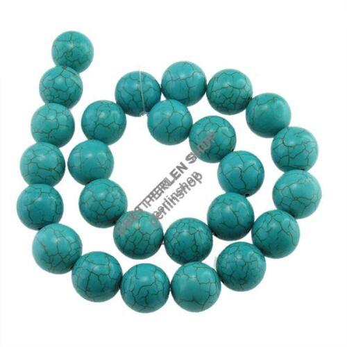 Gemme Turquoise Perles Pierre Bleu Rond 16 mm 12stk bijoux design g713