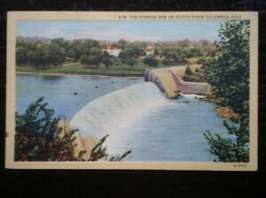 POSTCARD-USA-COLUMBUS-OHIO-THE-STORAGE-DAM-ON-SCIOTO-RIVER-C1950