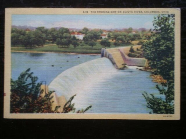 POSTCARD USA COLUMBUS OHIO - THE STORAGE DAM ON SCIOTO RIVER C1950