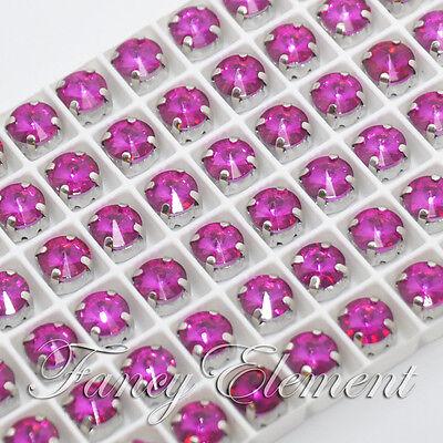 36/72pcs Glass Rivoli 1122 8mm Fuchsia Crystal Sew On Rhinestones Metal Setting