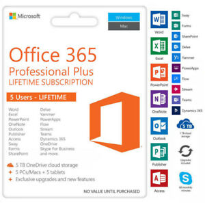 INSTANT Microsoft Office 365 Pro Plus 2016 5 devices/5tb OneDrive-multilingual