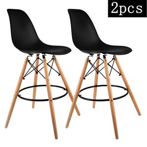 Pleasing Details About 2Pcs High Bar Stools Plastic Tops Wood Legs For Kitchen Bar Modern 26 Seat High Machost Co Dining Chair Design Ideas Machostcouk