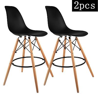 2pcs High Bar Stools Plastic Tops Wood Legs For Kitchen Bar Modern 26 Seat High Ebay
