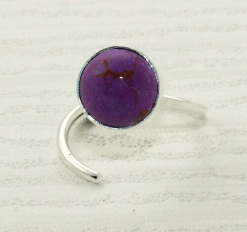 Turquoise /& Natural sucre Druzy Plaqué Argent Réglable RING Gemstone Jewelry