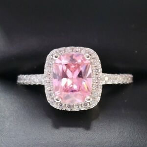 3-Ct-Cushion-Pink-Sapphire-Diamond-Halo-925-Sterling-Silver-Ring-Silver-R628