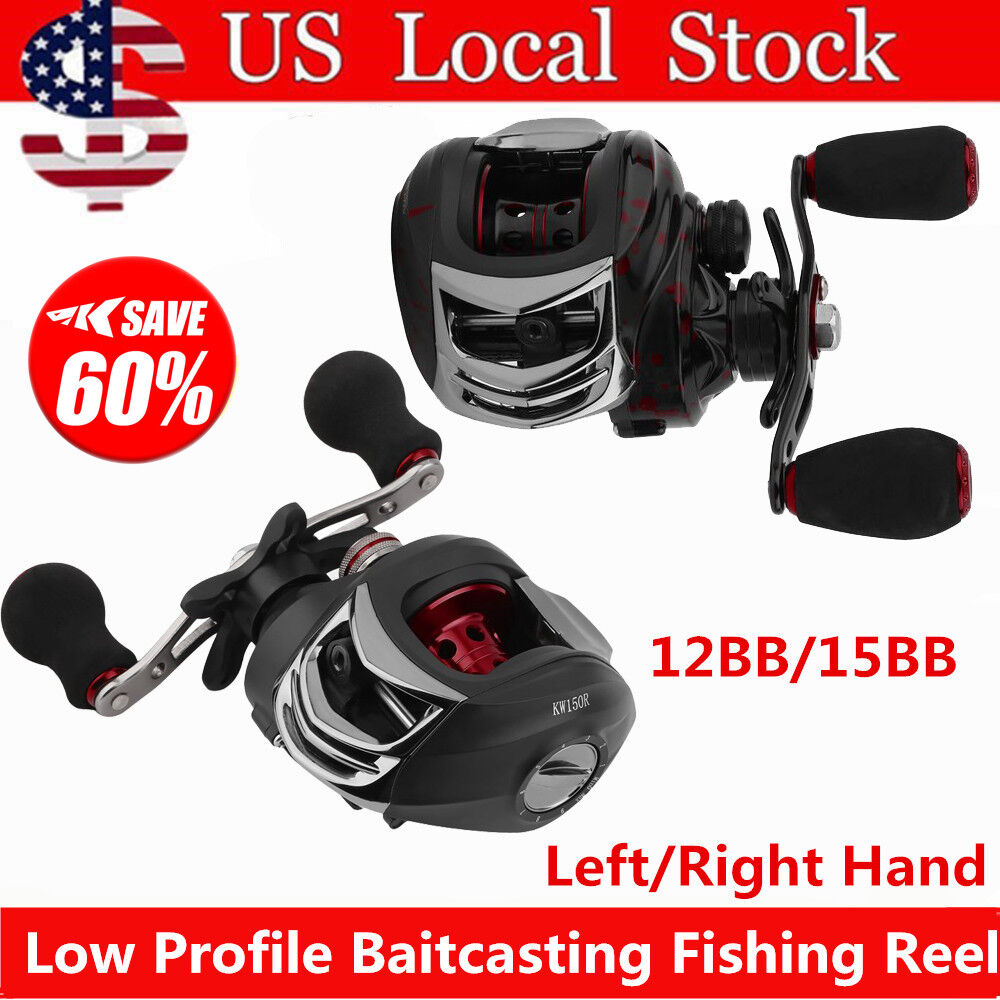 Left Right Hand Bait Casting Fishing Reel-Perfect Low Profile Baitcaster LOT NEW