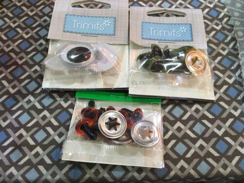 Conjunto de tres ojos Trimits De Seguridad Para Proyectos De Artesanía//costura