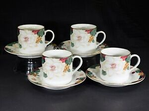 4-Sets-Tienshan-Magnolia-Flat-Cup-and-Saucer-Sets-New-Discontinued
