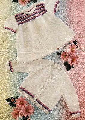 """Lovely baby girl dress and cardigan knitting pattern in DK wool- chest 19-22"""""""