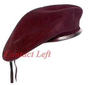 New-WOOL-Mens-Ladies-Maroon-Beret-Hat-Cap-Army-Military-Fashion-or-Fancy-Dress