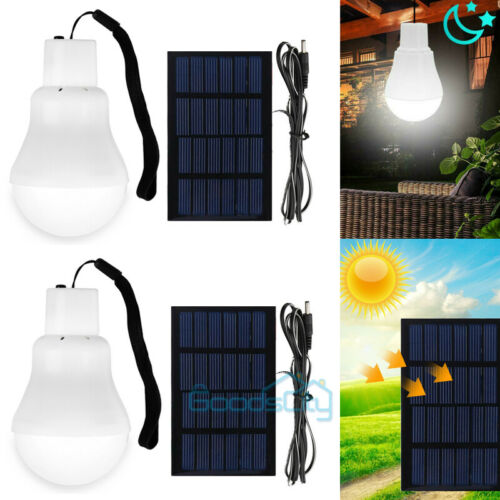 2X 15W Solar Power Rechargeable LED Bulb Camping Tent Light Lantern Lamp Best
