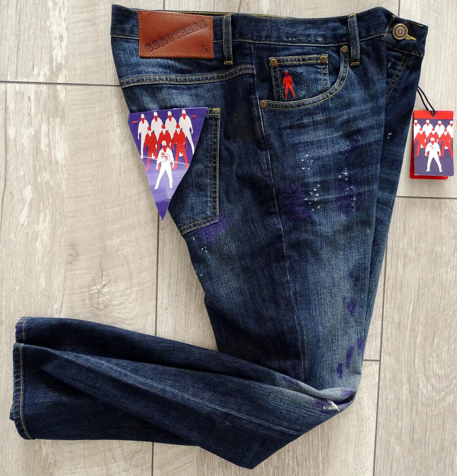 8BROTHERS EDOARDO Designer Jeanshose Herren Luxus Gr.34 Blau NEU mit ETIKETT