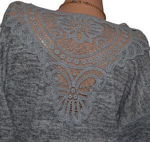 Italy-Sueter-Tunica-Blusa-Shirt-Camisa-Mujer-con-Cadena-Jersey-Largo-40-44-N