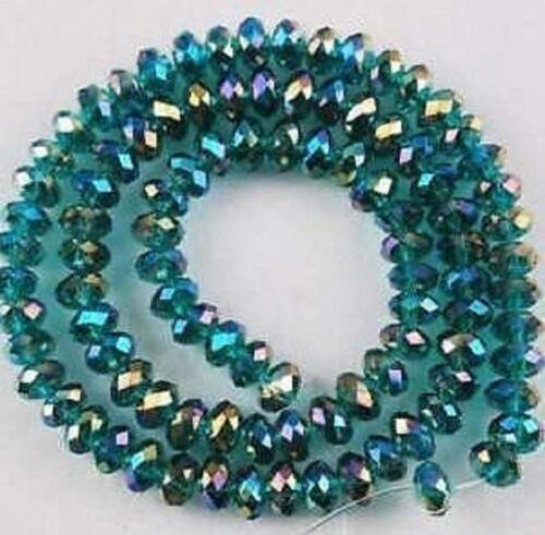 3x4mm 150pcs vert paon perles de cristal  en vrac