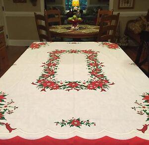 Vintage Christmas Tablecloth Poinsettia Design 54 X 69 Brazil Ebay