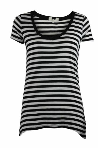 Ladies Womens Black Grey Loose Fit Short Sleeve V Neck Casual Striped Top 8-18