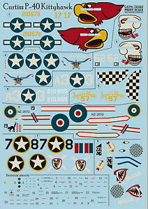 Print Scale 72-023 Decal for Сurtiss P-40 Kittyhawk 1:72