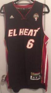 separation shoes 953e4 43bfc Details about LeBron James Noche Latina Jersey Men L El Heat 6 Miami NBA  King Adidas Authentic