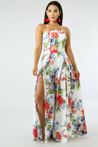 Jumpsuit Tube Floral Slit Florida Shipping From Fast Uw4Zwg