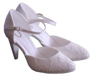 Brautschuhe Hochzeitsschuhe Spitze Schuhe Pumps Hochzeit Weiss Ivory